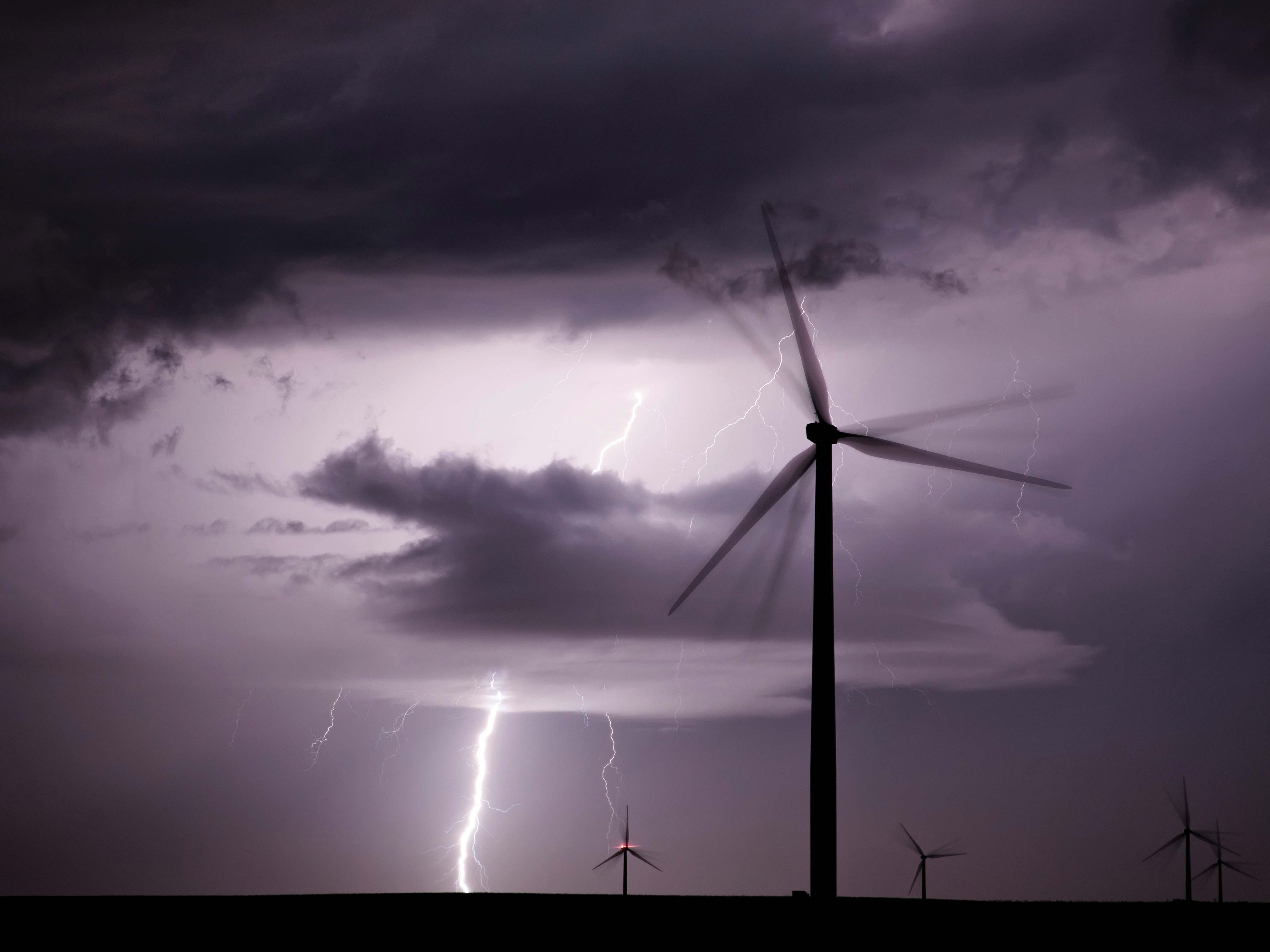 wind turbine near a lightning strike