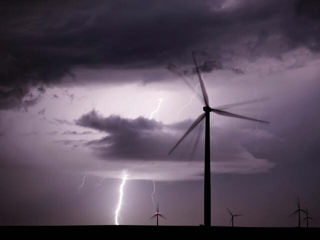 wind turbine near a lightning strike