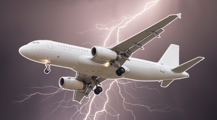 airplane getting struck by lightning