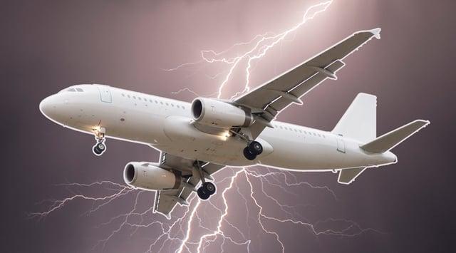 airplane getting struck by lightning