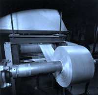 Expanded metal being annealed