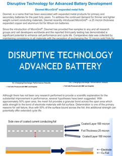 Disruptive Technology for Advanced Battery Development