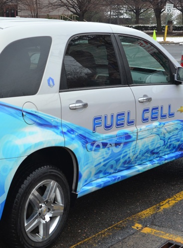 Car with a fuel cell decal