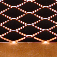 material with solid metal and expanded metal welded together